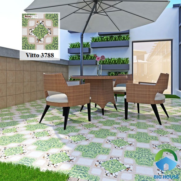 Gợi ý mẫu gạch cỏ từ thương hiệu Vitto. Mã gạch 3788 có kích thước 50x50 và hiệu ứng sugar. Xương gạch làm từ chất liệu ceramic thích hợp lát nền sân thượng, sân phơi đồ
