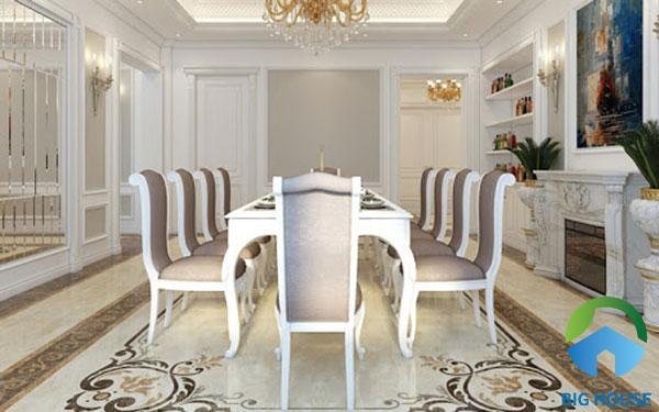 Mẫu gạch chiếu hình chữ nhật cỡ lớn cũng là một gợi ý tuyệt vời dành cho không gian phòng ăn