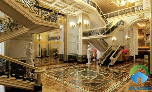 Bạn có thể sử dụng gạch lát thảm với tone màu trầm phù hợp với thiết kế nội thất của sảnh tòa nhà