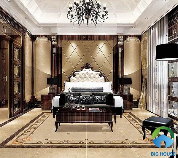 Mẫu gạch chiếu phòng ngủ này thích hợp với gia chủ yêu thích sự đơn giản và những gam màu trầm