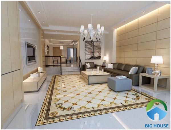 Tiếp theo là mẫu gạch lát thảm vàng kết hợp cùng gạch ốp tường vàng nhạt và ánh đèn chiếu tạo cảm giác ấm ấp cho căn phòng
