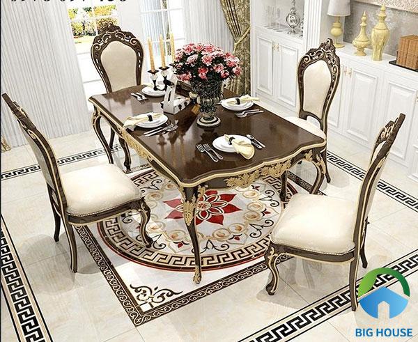 Sử dụng gạch thảm lát sàn cùng tone nâu với nội thất phòng ăn