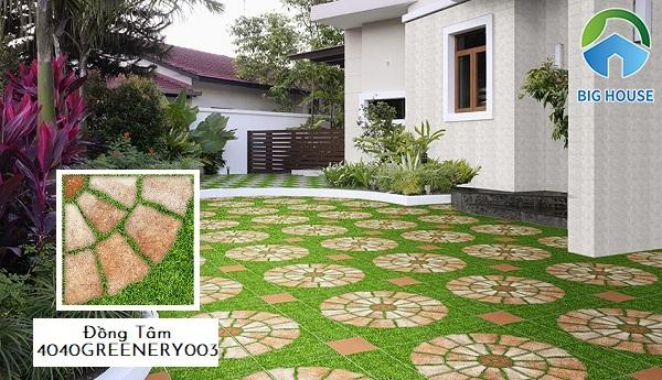 Gợi ý mẫu gạch Đồng Tâm 4040GREENERY003 với họa tiết lạ mắt tạo điểm nhấn mới lạ cho không gian sân vườn nhà bạn