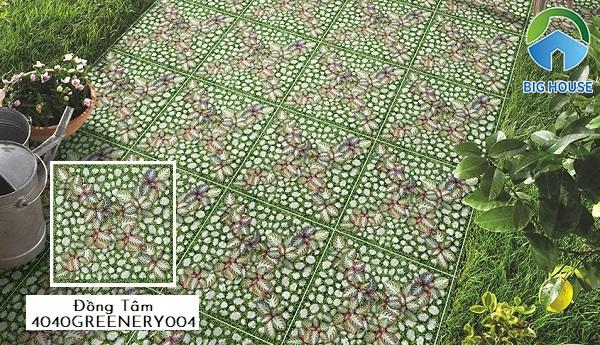 Mẫu gạch Đồng Tâm 4040GREENERY004 rất thích hợp lát nền sân vườn bởi xương gạch granite có độ cứng, chịu lực rất tốt