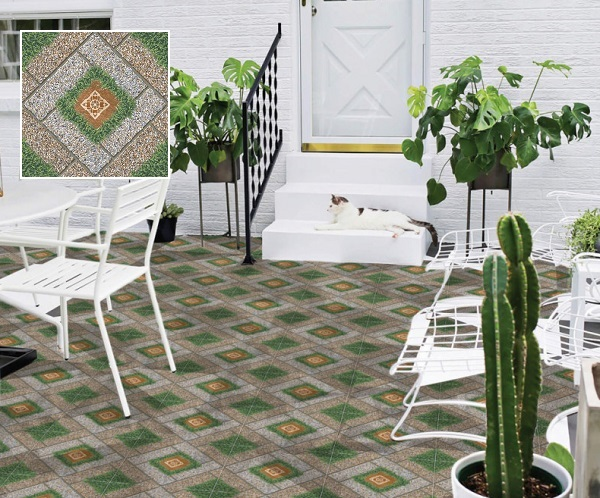 Mẫu gạch sân vườn Prime 9521 kích thước 50x50 với họa tiết giả đá xen lẫn cỏ xanh mướt rất đẹp
