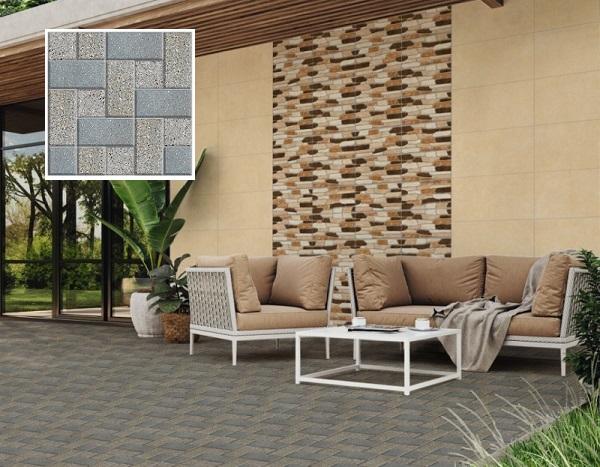 Hoặc bạn cũng có thể lựa chọn mẫu gạch sân vườn Prime 9575 giả đá nhiều màu ấn tượng